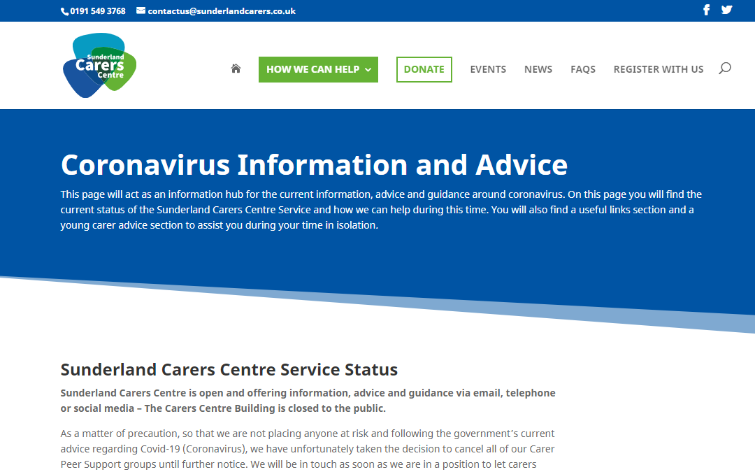 Coronavirus Information and Advice Page